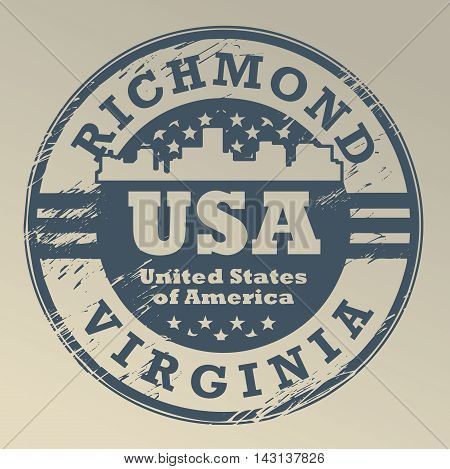 Grunge rubber stamp with name of Virginia, Richmond, vector illustration