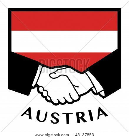 Austria flag and business handshake, vector illustration
