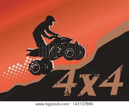 Off-road race jump abstract background, vector illustration