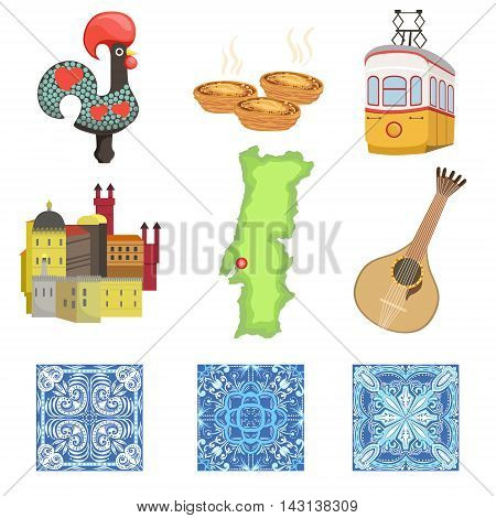 Portuguese National Symbols Collection Of Objects. Famous Portuguese Things Azulejos, Rooster, Serra De Sintra, Guitar, Map, Custard Tart Vector Illustration.