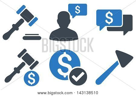 Auction vector icons. Icon style is bicolor smooth blue flat symbols with rounded angles on a white background.