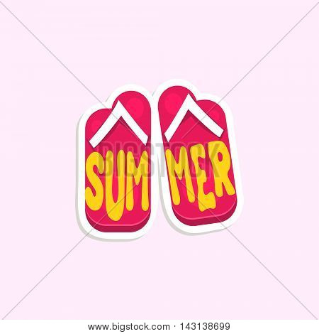 Flip-Flops Bright Color Summer Inspired Isolated Sticker With Text Simple Cartoon Childish Flat Vector Design