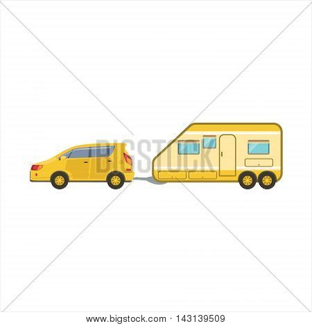 Yellow Car Pulling The Trailer Icon. Family Motorhome Flat Colorful Car. Microbus For Family Vacation Isolated Illustration.