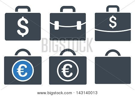 Business Case vector icons. Icon style is bicolor smooth blue flat symbols with rounded angles on a white background.
