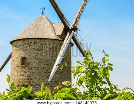 Old Stone Windmill. Landscape of Normandy, France