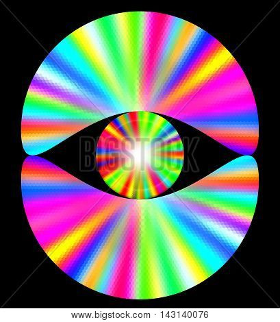 Abstract rainbow background with spectral rays. Pink, yellow, blue, white and green disc-shaped objects on a black background
