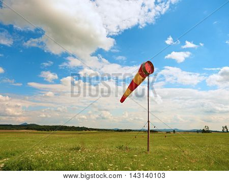 Summer Hot Day On Sport Airport With Moving Windsock,