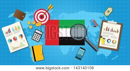 united arab emirates economy economic condition country with graph chart and finance tools vector graphic illustration