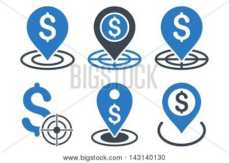 Business Goal vector icons. Icon style is bicolor smooth blue flat symbols with rounded angles on a white background.