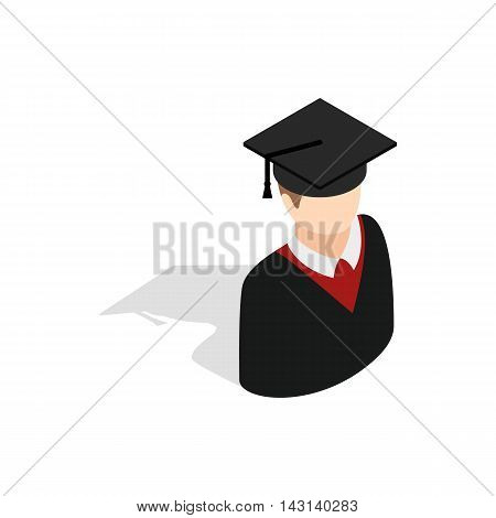 Graduate man in cap and gown icon in isometric 3d style on a white background