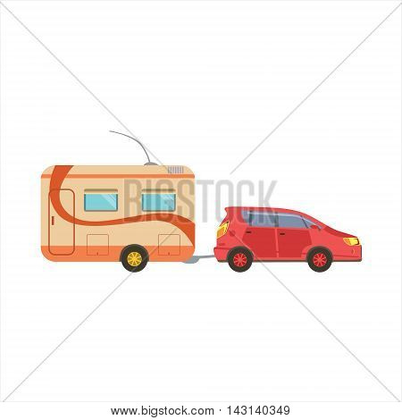 Red Car Pulling The Trailer Icon. Family Motorhome Flat Colorful Car. Microbus For Family Vacation Isolated Illustration.