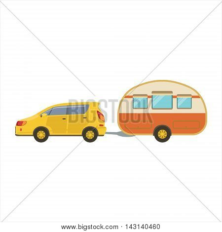 Yellow Car Pulling Retro Trailer Icon. Family Motorhome Flat Colorful Car. Microbus For Family Vacation Isolated Illustration.