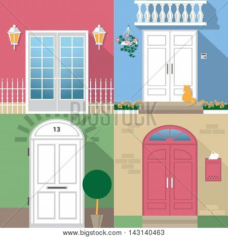 color illustrations with different types of entrance doors