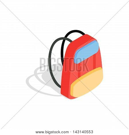 School backpack icon in isometric 3d style on a white background