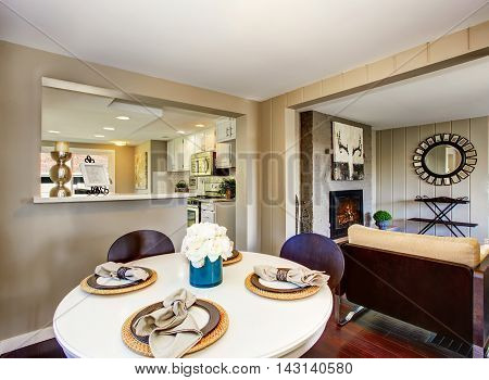Dining Area With Big Window And Serving Table Set