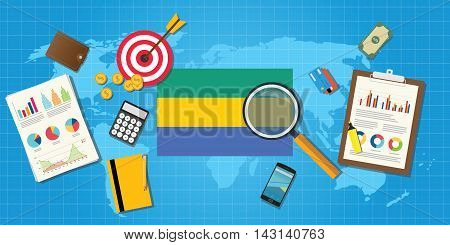 gabon africa economy economic condition country with graph chart and finance tools vector graphic illustration
