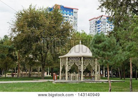 VOLGOGRAD RUSSIA - AUGUST 17: The lawn and gazebo in friendship Park Volgograd-Baku. August 17 2016 in Volgograd Russia.