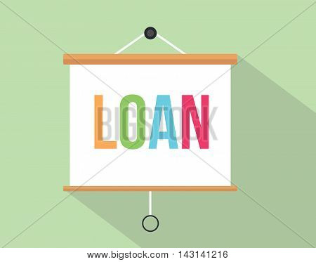 loan with colourfull text written on the presentation board