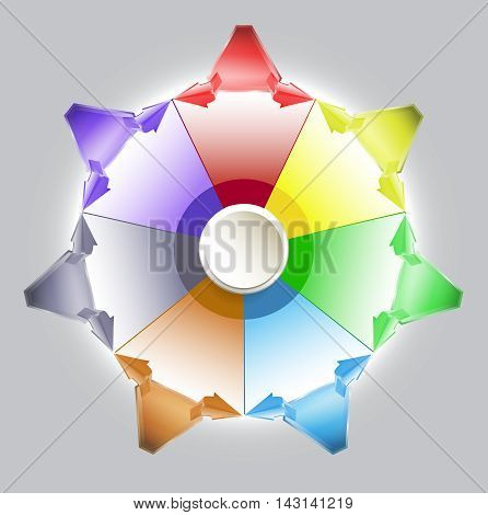 Infographics circular diagram template with button, arrows and triangles. Seven colorful triangles with arrows for webdesign and infographic