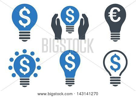Electric Light Price vector icons. Icon style is bicolor smooth blue flat symbols with rounded angles on a white background.