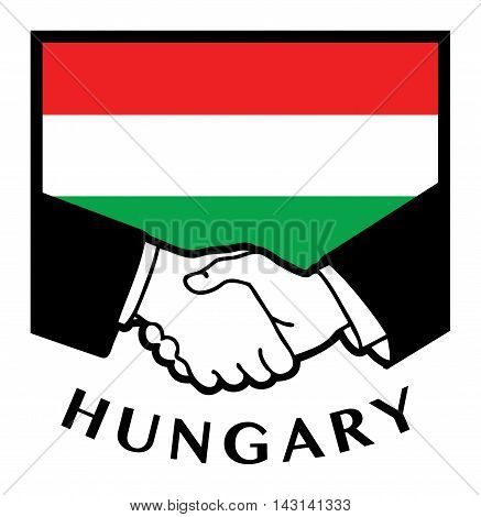 Hungary flag and business handshake, vector illustration