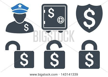 Financial Guard vector icons. Icon style is bicolor smooth blue flat symbols with rounded angles on a white background.