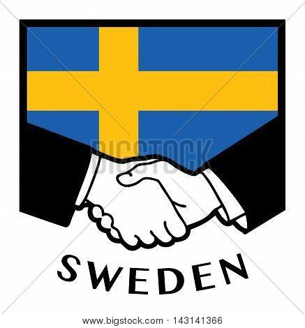 Sweden flag and business handshake, vector illustration