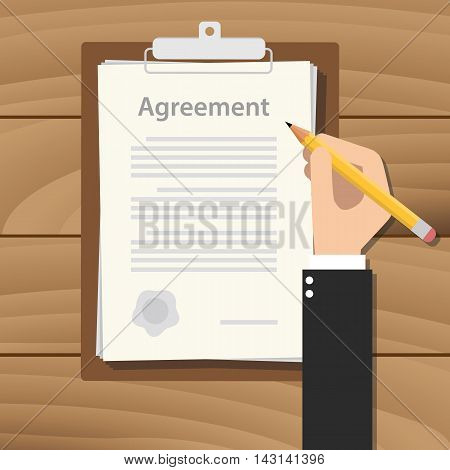 agreement concept agreement with hand hold pencil signing paper document on clipboard on wood table