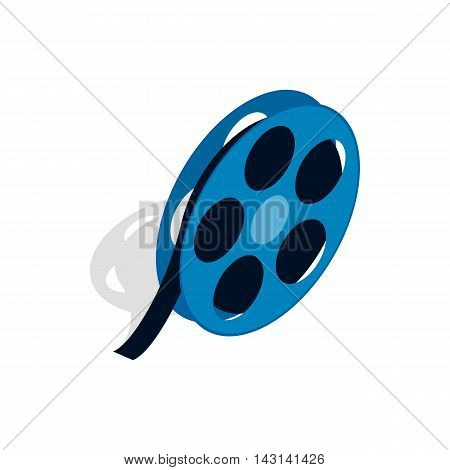 Film reel icon in isometric 3d style on a white background