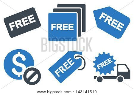 Free Tag vector icons. Icon style is bicolor smooth blue flat symbols with rounded angles on a white background.