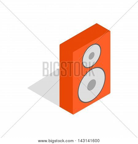 Orange speaker icon in isometric 3d style on a white background