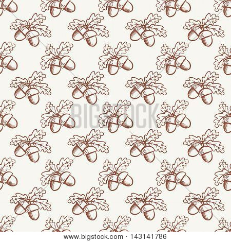 Seamless pattern with acorns in outline style. Natural background. Vector illustration.