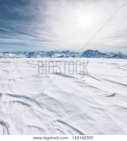The Caucasus Mountains In Winter Time