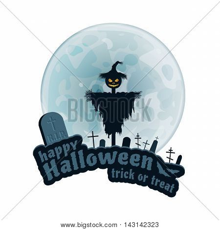 Happy Halloween Trick or Treat Vector Sticker on white Background. Moon, Text, Bat, Scarecrow, Monument.