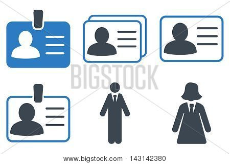 Person Account Card vector icons. Icon style is bicolor smooth blue flat symbols with rounded angles on a white background.
