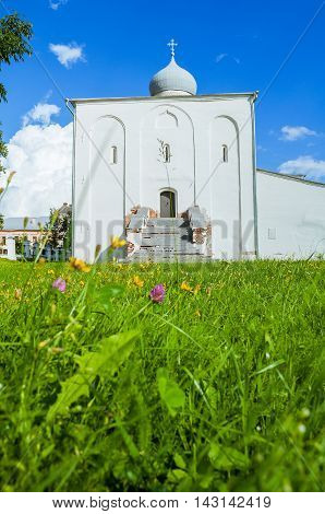 Architecture summer view of Assumption Church at the Yaroslav Courtyard at summer sunny day in Veliky Novgorod Russia