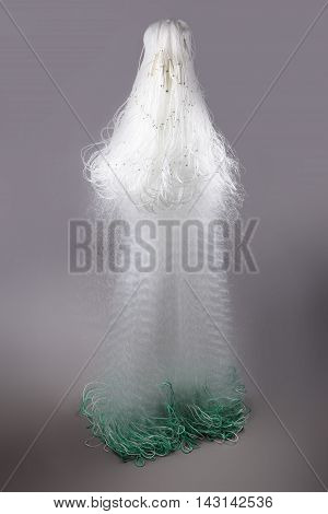 Harvest gear of crab net for fishing on grey background