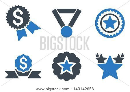 Reward vector icons. Icon style is bicolor smooth blue flat symbols with rounded angles on a white background.
