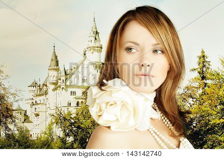 Rromantic escape beautiful young woman and fairytale castle
