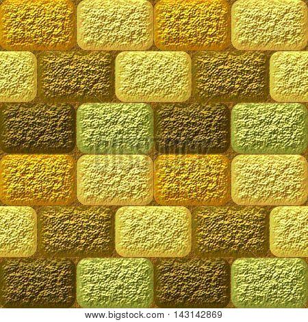 Seamless mosaic 3d pattern of coarse gold, brown and green rounded rectangles. Gold, brown and green grained seamless pattern of bricks