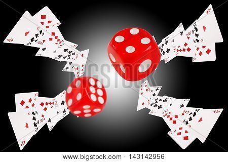 Playing cards an dice flying . 3D illustration