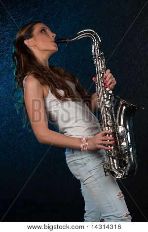 Young Woman With A Saxophone
