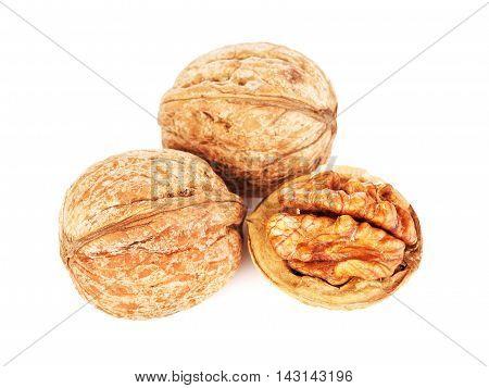 fresh walnuts peeled, isolated on white background