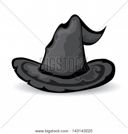 illustration of tall witch hat isolated on white . vector witch hat.