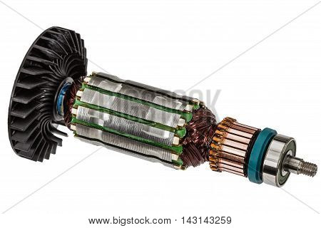 Rotor of electric motor close-up isolated on white background