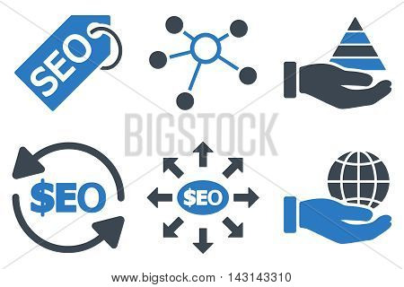 Seo Marketing vector icons. Icon style is bicolor smooth blue flat symbols with rounded angles on a white background.