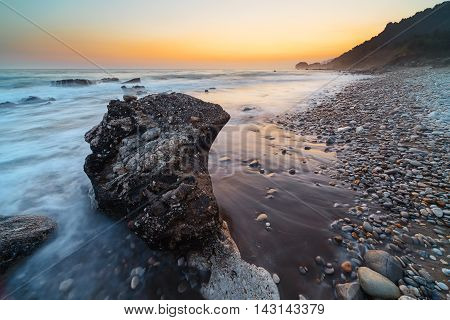 Rocky Coastline At Sunset