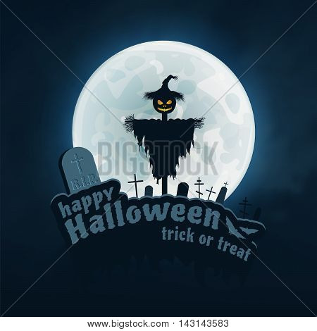 Happy Halloween Trick or Treat Vector Sticker on Blue Background. Moon, Text, Bat, Scarecrow, Monument.