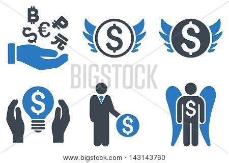 Angel Investor vector icons. Icon style is bicolor smooth blue flat symbols with rounded angles on a white background.