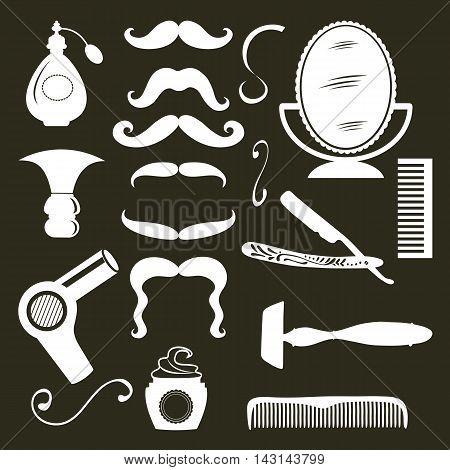 Vintage barber shop objects collection. Illustration in vector format